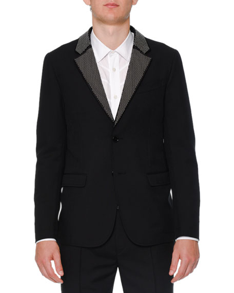 Alexander McQueen Studded Lapel Two-Button Jacket, Seam-Detail