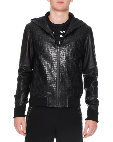 Alexander McQueen Croc-Embossed Leather Hoodie, Black