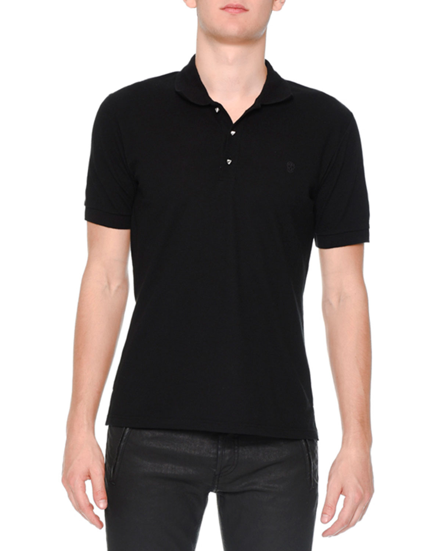 Alexander Mcqueen Pique Skull Logo Polo Shirt Black Neiman Marcus