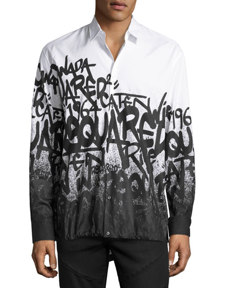 Dsquared2 Graffiti-Print Button-Down Shirt, White/Black