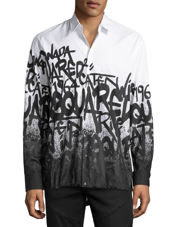 49f4a1b25f Dsquared2 Graffiti-Print Button-Down Shirt