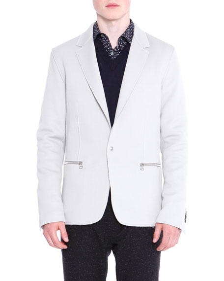Lanvin Zip-Pocket One-Button Jacket, V-Neck Sweater with Mesh