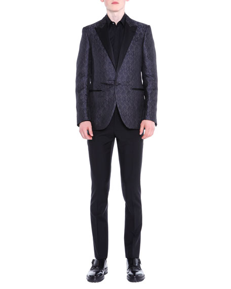 Peak-Lapel Textured Evening Jacket, Navy