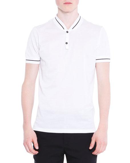 Lanvin Baseball-Collar Short-Sleeve Polo Shirt, White