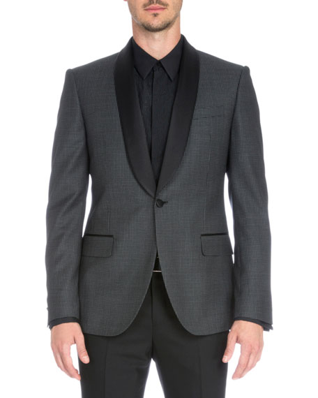 Satin-Collar Check Evening Jacket, Gray