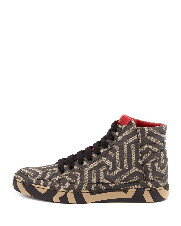 3e3c07306 Gucci GG Caleido Canvas High-Top Sneaker, Brown/Black | Neiman Marcus