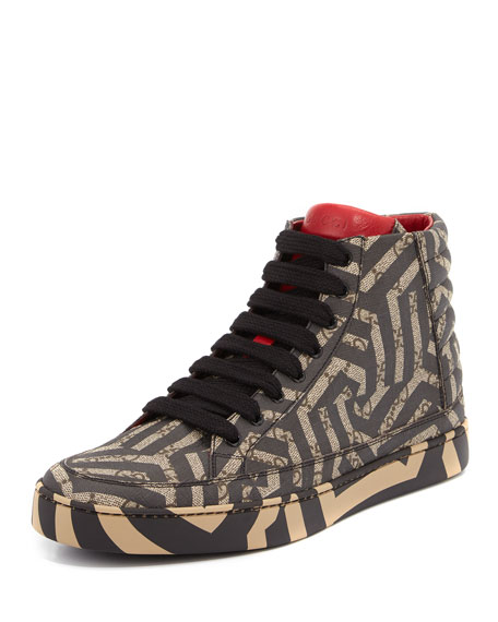 Gucci GG Caleido Canvas High-Top Sneaker, Brown/Black