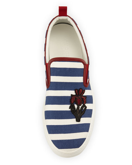 Dublin Striped Slip-On Sneaker, Navy/White