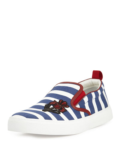 Striped Canvas Sneaker, Navy/White