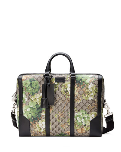 GG Blooms Printed Canvas Briefcase, Multi