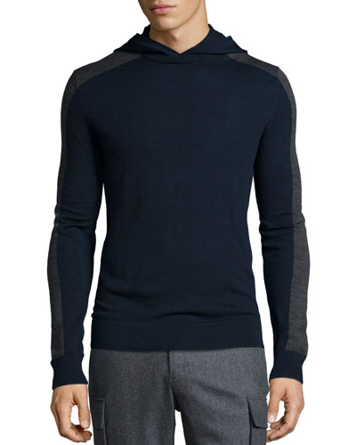 Colorblock Hooded Pullover Sweater, Navy