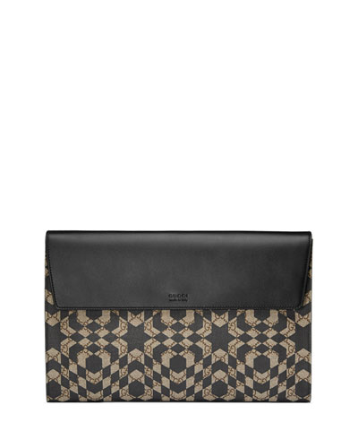 GG Caleido Canvas Portfolio Case, Black/Beige