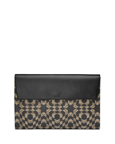 Gucci GG Caleido Canvas Portfolio Case, Black/Beige