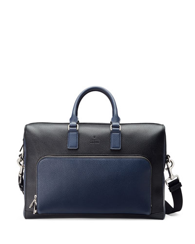 Cosmopolis Leather Briefcase, Black/Blue