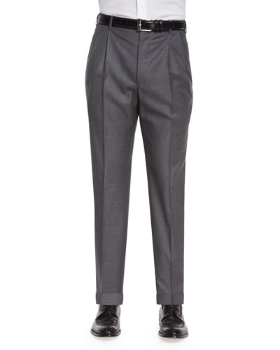 Platinum Wool Dress Pants, Gray