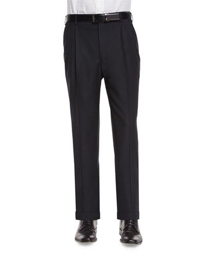 Bennett Pleated Super 150's Trousers, Black