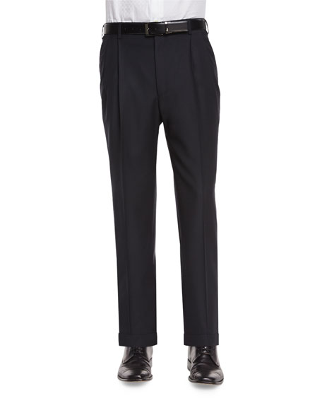 Zanella Bennett Pleated Super 150's Trousers, Black