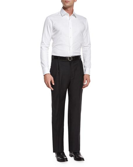 Parker Platinum Flat-Front Super 150's Trousers, Black