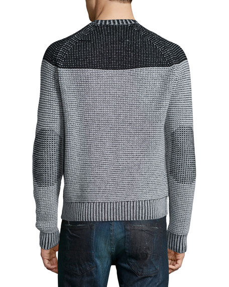 Neiman Marcus Cashmere by Billy Reid Colorblock Reverse Raglan Sweater, Gray
