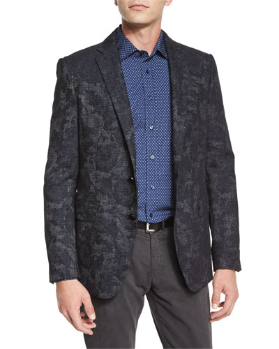 Tonal Abstract-Print Two-Button Jacket, Navy