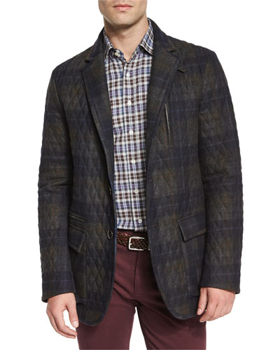 Quilted Plaid Field Jacket, Dark Gray