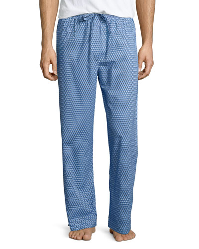Geo-Print Knit Lounge Pants, Blue