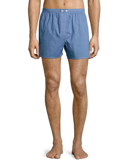 Derek Rose Geo-Print Woven Boxer Shorts, Blue