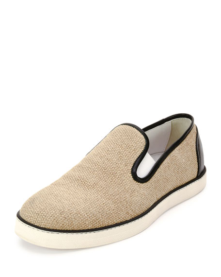 Bottega Veneta Woven Canvas Slip-On Sneaker, Natural/Black