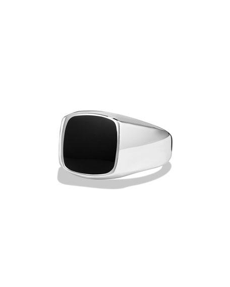 David Yurman Black Onyx Cushion Signet Ring