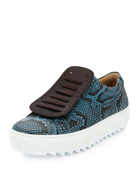 Salvatore Ferragamo Lan 2 Python Runway Sneaker on Archival Sole, Blue