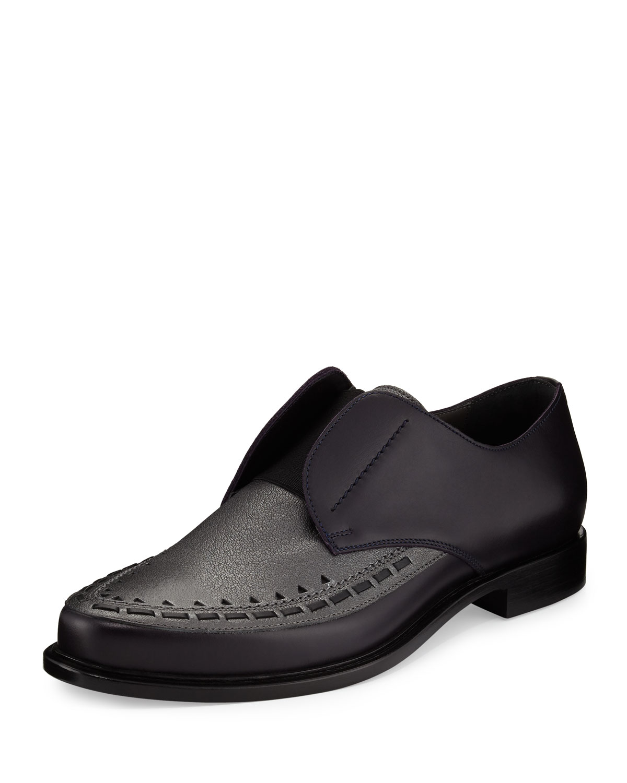 1caa06c3595 Lanvin Two-Tone Leather Slip-On Derby Shoe, Gray/Black | Neiman Marcus