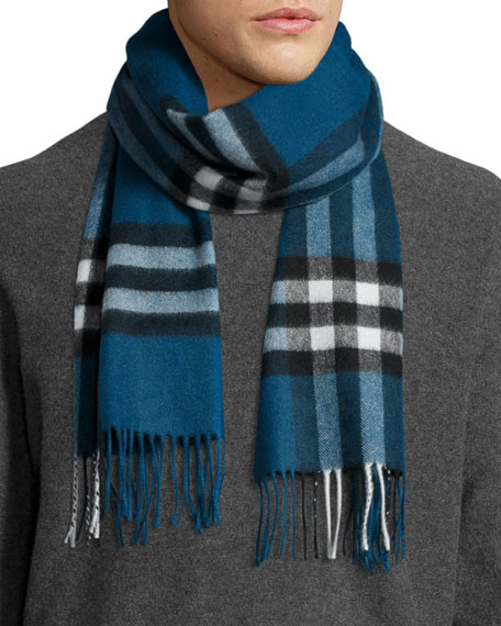 Men's Cashmere Giant Icon Scarf, Blue