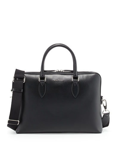 Barrow Grained Leather Briefcase, Black