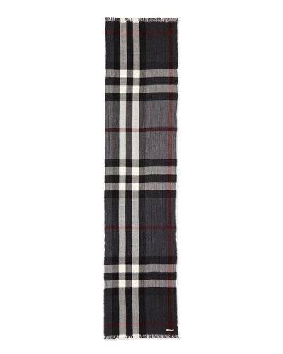 Wool/Cashmere Tricolor Check Lightweight Scarf, Charcoal