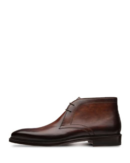 Lace-Up Leather Chukka Boot, Brown