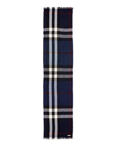 Wool/Cashmere Tricolor Check Lightweight Scarf, Navy