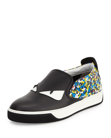 Fendi Monster Eyes & Confetti Leather Skate Sneaker