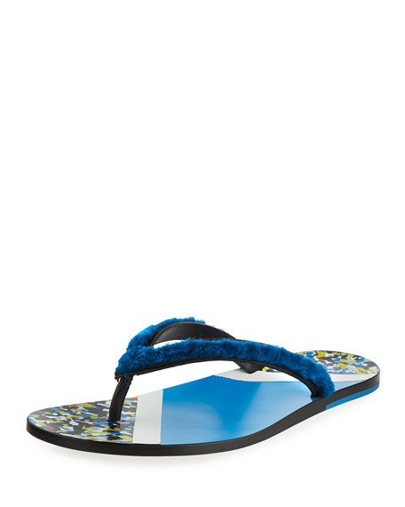 Fendi Men's Confetti Fur Flip-Flop Sandal, Blue