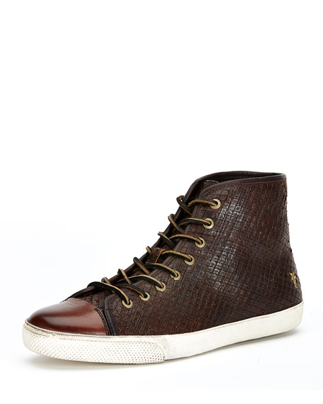 Frye Chambers Leather High-Top Sneaker, Dark Brown