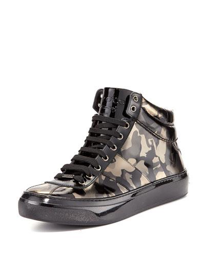 Belgravi Men's Camo-Print Leather High-Top Sneaker, Black