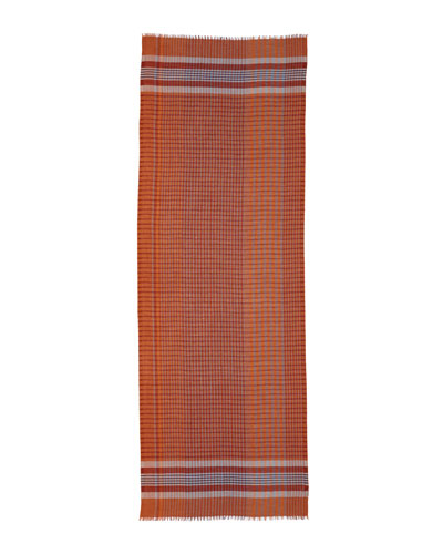 Plaid Cashmere-Silk Scarf, Blue/Orange