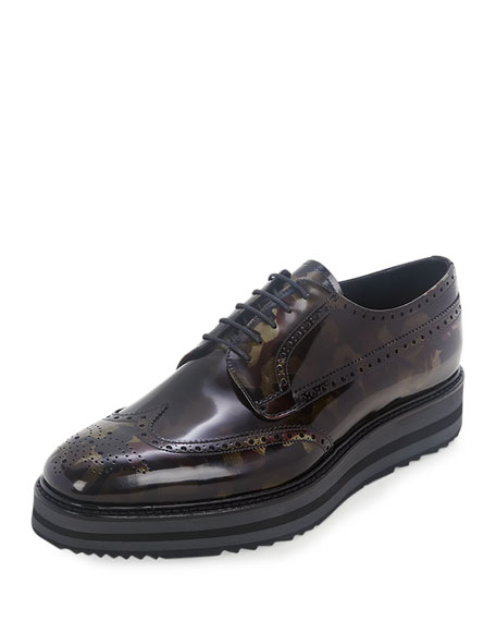 Camo-Print Wing-Tip Derby Shoe, Green Camo