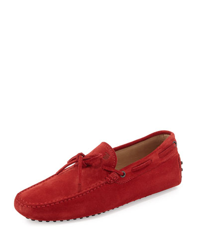 Suede Tie-Front Driver, Red