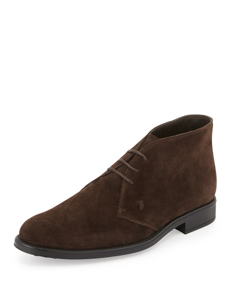 Tod's Suede Lace-Up Chelsea Boot, Brown