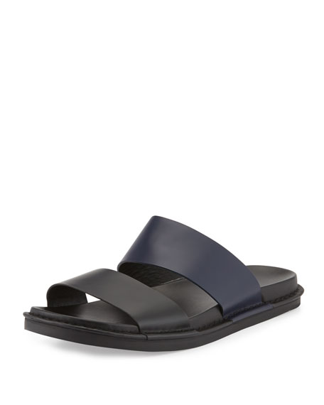 Vince Wyatt Leather Slide Sandal, Black/Blue