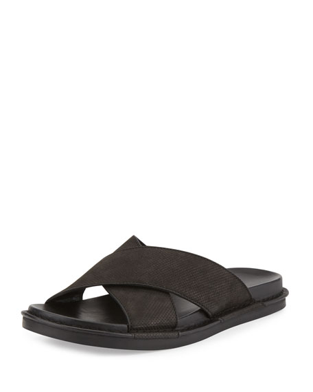 Vince Crisscross Leather Slide Sandal, black