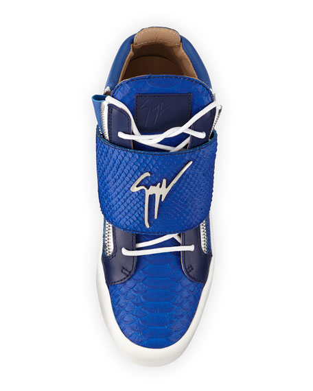 Logo Strap Embossed Leather Mid Top Sneaker, Blue