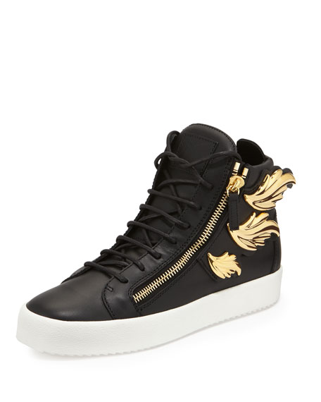 Giuseppe ZanottiMen's Leather High Top Sneaker with Golden Wings, Black