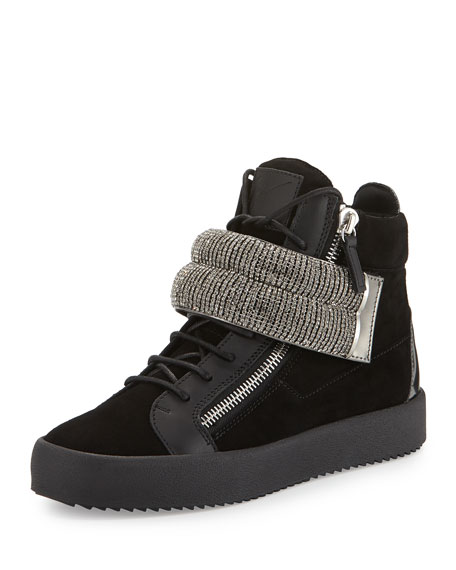 Giuseppe Zanotti Leather Mid-Top Sneaker with Jeweled Strap,