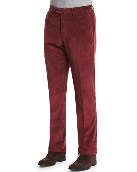 Incotex Wide-Whale Corduroy Trousers, Burgundy